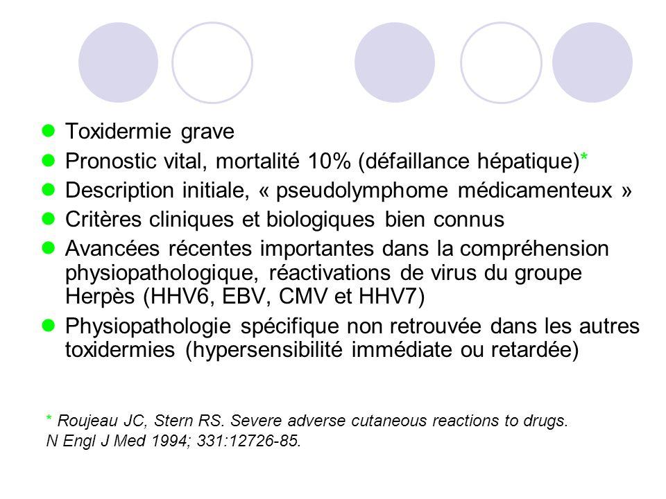 Toxidermie grave Pronostic vital, mortalité 10% (défaillance hépatique)* Description initiale, « pseudolymphome médicamenteux » Critères cliniques et