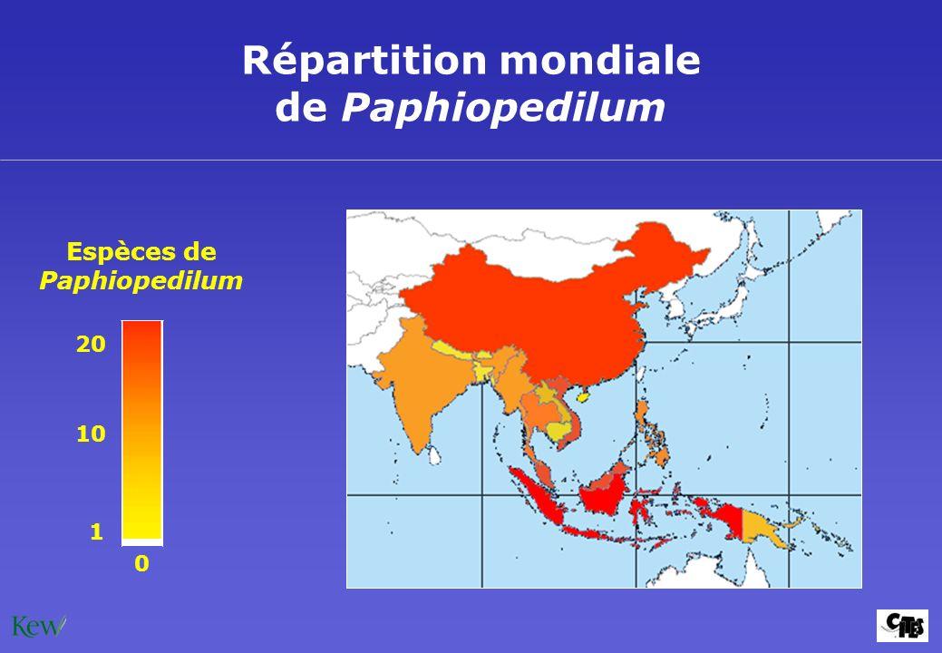 Répartition mondiale de Paphiopedilum Espèces de Paphiopedilum 20 1 10 0