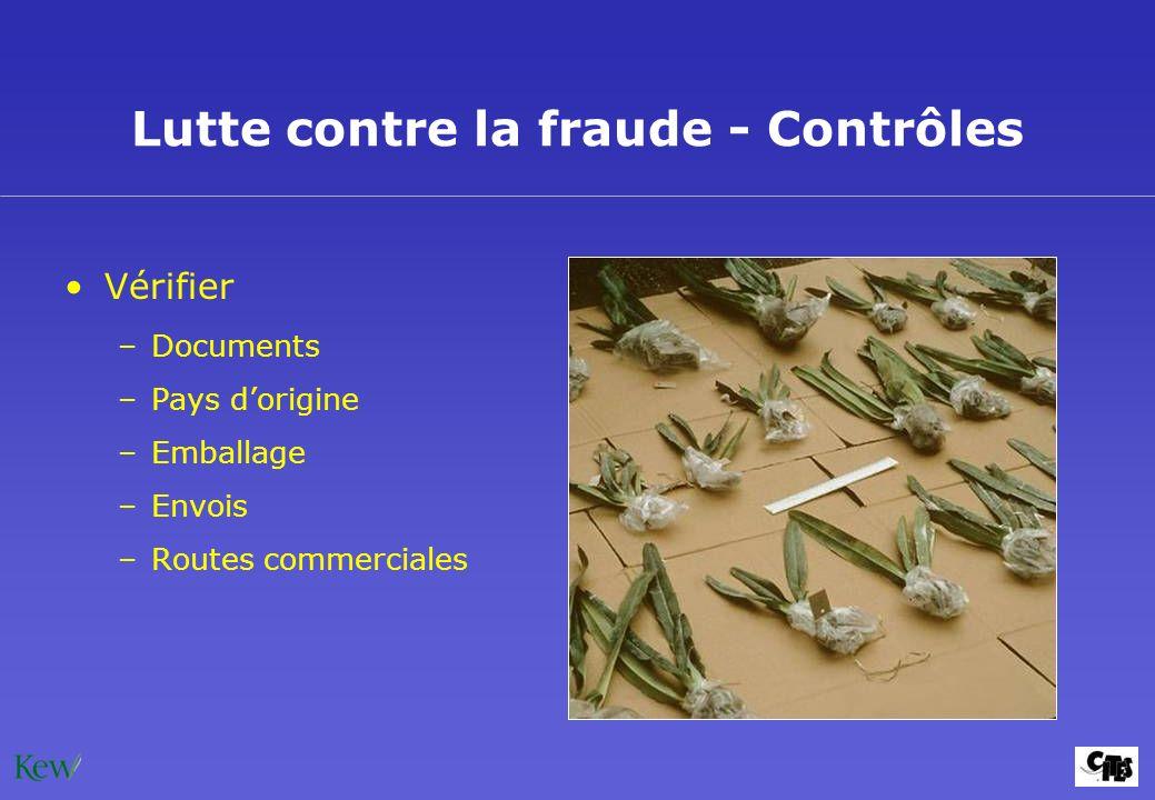 Lutte contre la fraude - Contrôles Vérifier –Documents –Pays dorigine –Emballage –Envois –Routes commerciales