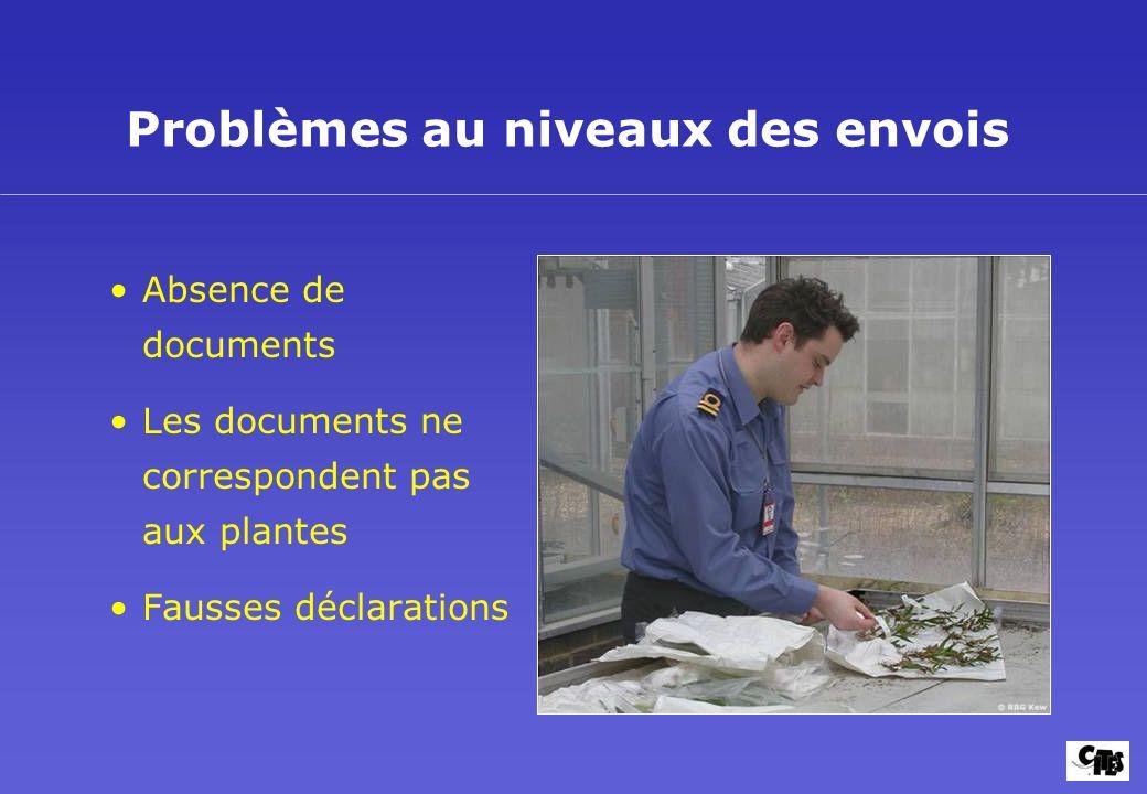 Problèmes au niveaux des envois Absence de documents Les documents ne correspondent pas aux plantes Fausses déclarations