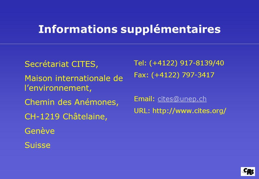 Informations supplémentaires Secrétariat CITES, Maison internationale de lenvironnement, Chemin des Anémones, CH-1219 Châtelaine, Genève Suisse Tel: (