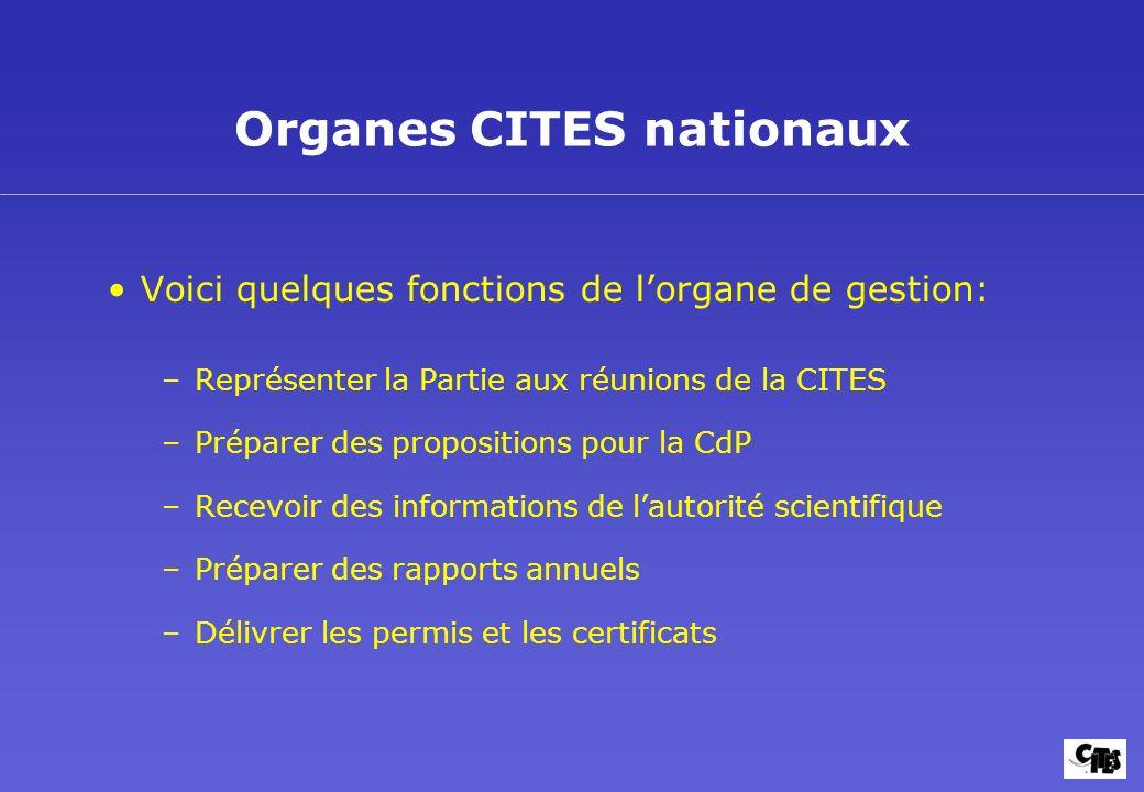 Organes CITES nationaux Voici quelques fonctions de lorgane de gestion: –Représenter la Partie aux réunions de la CITES –Préparer des propositions pou