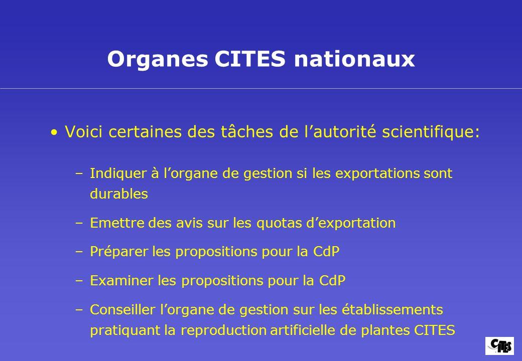 Organes CITES nationaux Voici certaines des tâches de lautorité scientifique: –Indiquer à lorgane de gestion si les exportations sont durables –Emettr