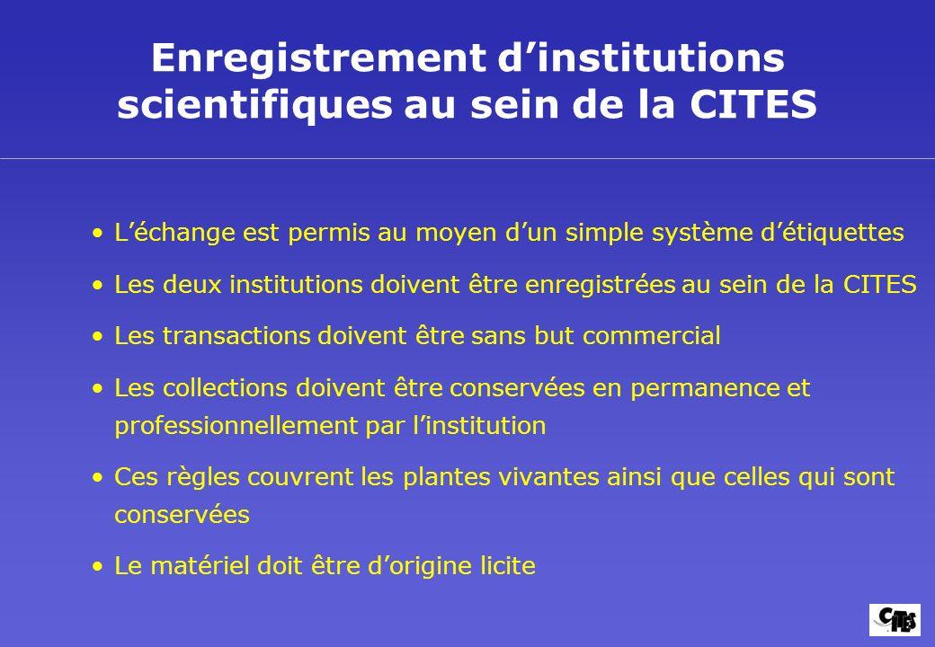 Enregistrement dinstitutions scientifiques au sein de la CITES Léchange est permis au moyen dun simple système détiquettes Les deux institutions doive