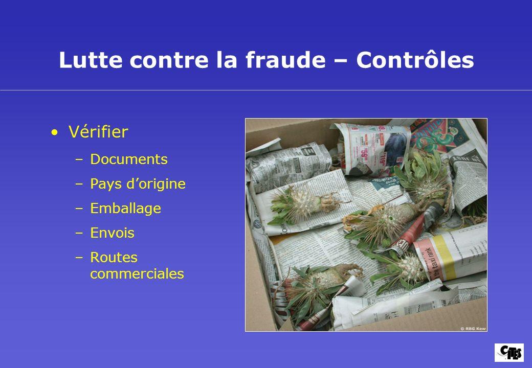 Lutte contre la fraude – Contrôles Vérifier –Documents –Pays dorigine –Emballage –Envois –Routes commerciales