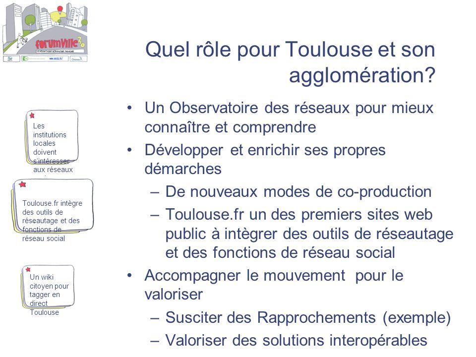 Quel rôle pour Toulouse et son agglomération? Un Observatoire des réseaux pour mieux connaître et comprendre Développer et enrichir ses propres démarc