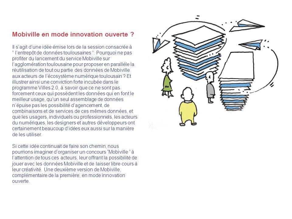 Mobiville en mode innovation ouverte ? Il sagit dune idée émise lors de la session consacrée à lentrepôt de données toulousaines. Pourquoi ne pas prof
