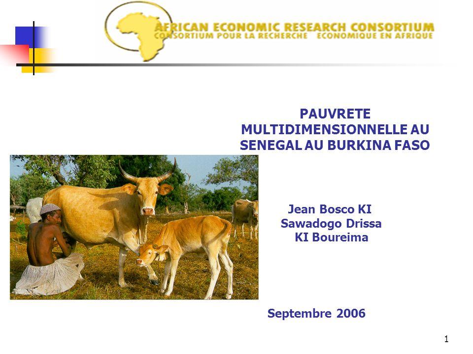 1 PAUVRETE MULTIDIMENSIONNELLE AU SENEGAL AU BURKINA FASO Jean Bosco KI Sawadogo Drissa KI Boureima Septembre 2006