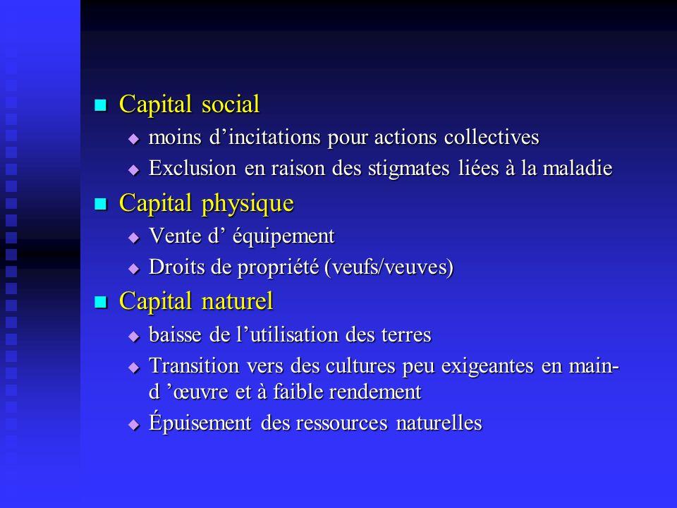 Capital social Capital social moins dincitations pour actions collectives moins dincitations pour actions collectives Exclusion en raison des stigmate