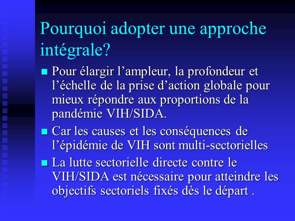 Pourquoi adopter une approche intégrale? Pour élargir lampleur, la profondeur et léchelle de la prise daction globale pour mieux répondre aux proporti
