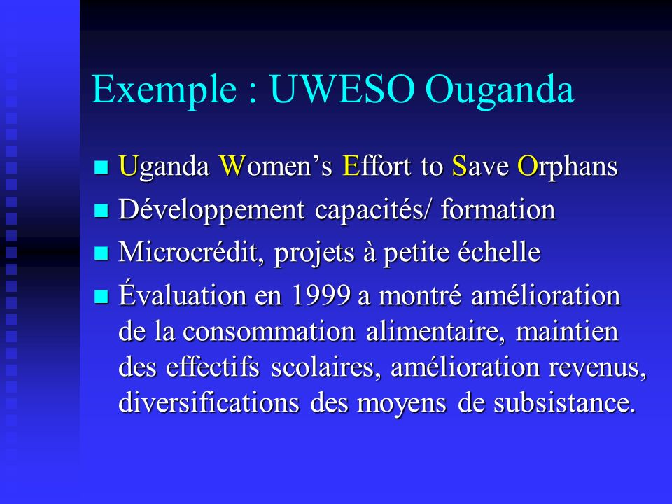Exemple : UWESO Ouganda Uganda Womens Effort to Save Orphans Uganda Womens Effort to Save Orphans Développement capacités/ formation Développement cap