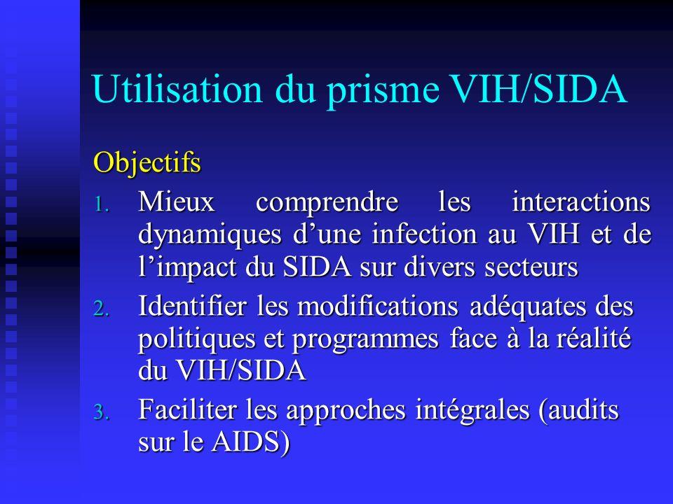 Utilisation du prisme VIH/SIDA Objectifs 1. Mieux comprendre les interactions dynamiques dune infection au VIH et de limpact du SIDA sur divers secteu