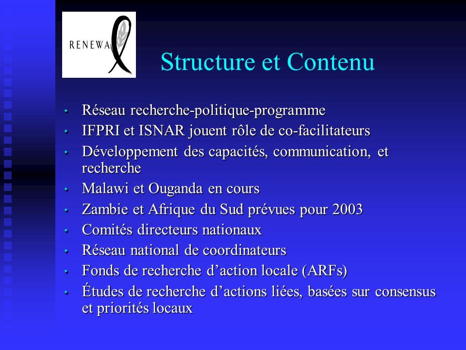 Structure et Contenu Réseau recherche-politique-programme Réseau recherche-politique-programme IFPRI et ISNAR jouent rôle de co-facilitateurs IFPRI et