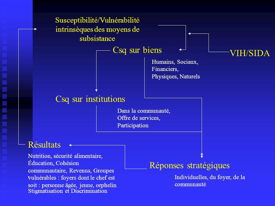 Susceptibilité/Vulnérabilité intrinsèques des moyens de subsistance, Stigmatisation et Discrimination Csq sur institutions Dans la communauté, Offre d