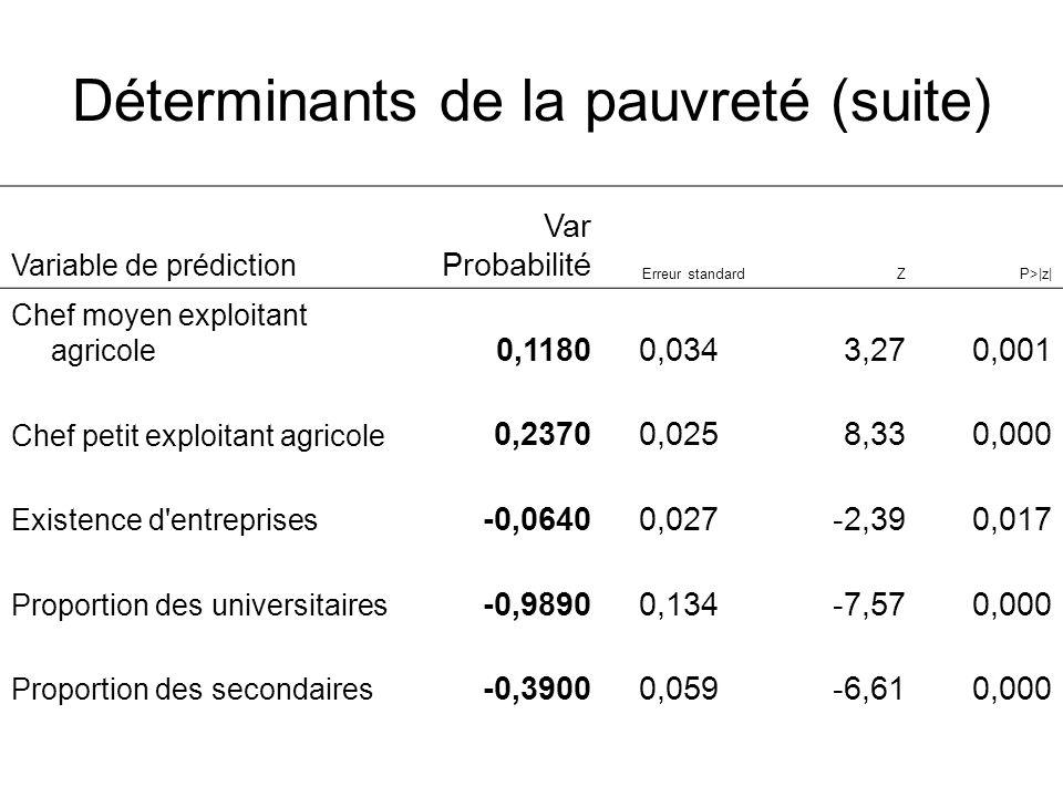 Déterminants de la pauvreté (suite) Variable de prédiction Var Probabilité Erreur standardZP>|z| Chef moyen exploitant agricole 0,11800,0343,270,001 C