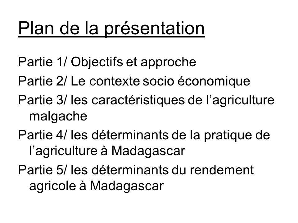 Plan de la présentation Partie 1/ Objectifs et approche Partie 2/ Le contexte socio économique Partie 3/ les caractéristiques de lagriculture malgache