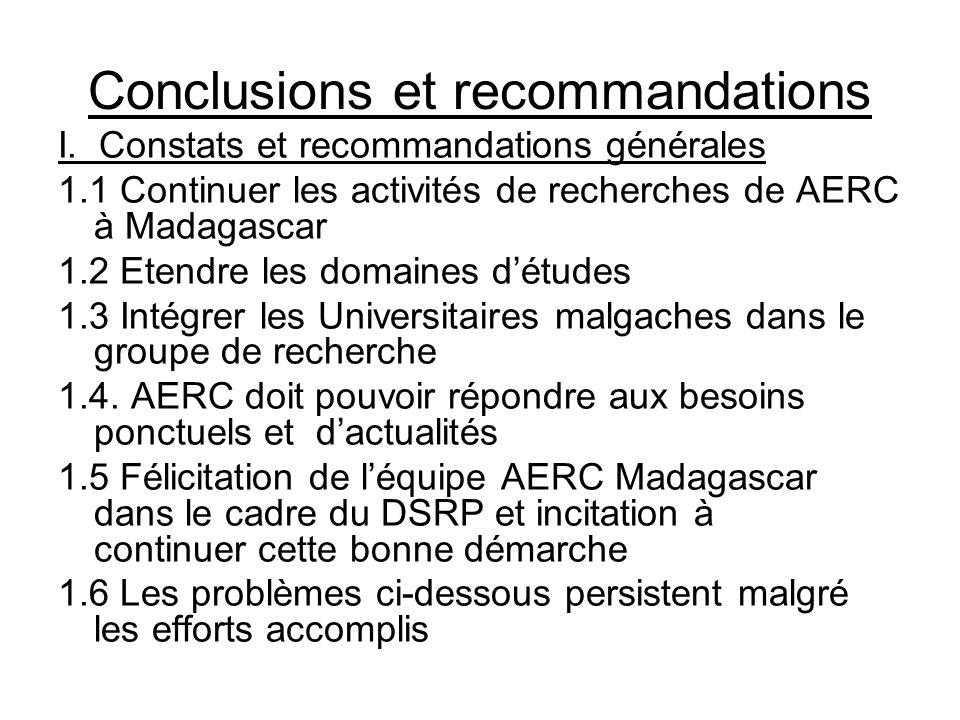 Conclusions et recommandations I. Constats et recommandations générales 1.1 Continuer les activités de recherches de AERC à Madagascar 1.2 Etendre les