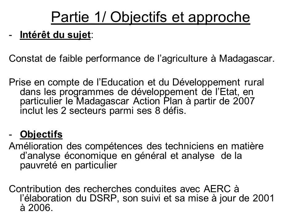 Partie 1/ Objectifs et approche -Intérêt du sujet: Constat de faible performance de lagriculture à Madagascar. Prise en compte de lEducation et du Dév