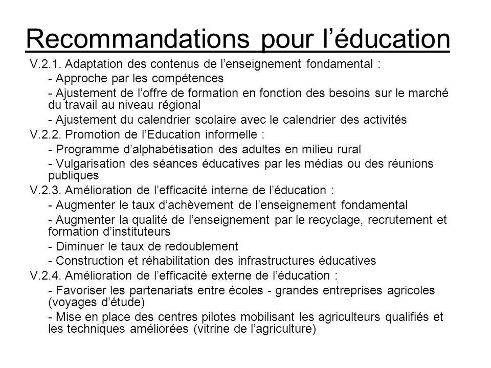 Recommandations pour léducation V.2.1. Adaptation des contenus de lenseignement fondamental : - Approche par les compétences - Ajustement de loffre de