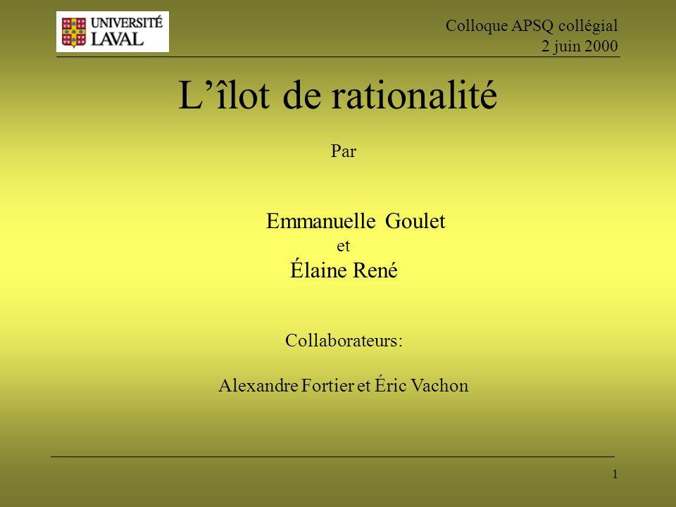 1 Lîlot de rationalité Par Emmanuelle Goulet et Élaine René Collaborateurs: Alexandre Fortier et Éric Vachon Colloque APSQ collégial 2 juin 2000