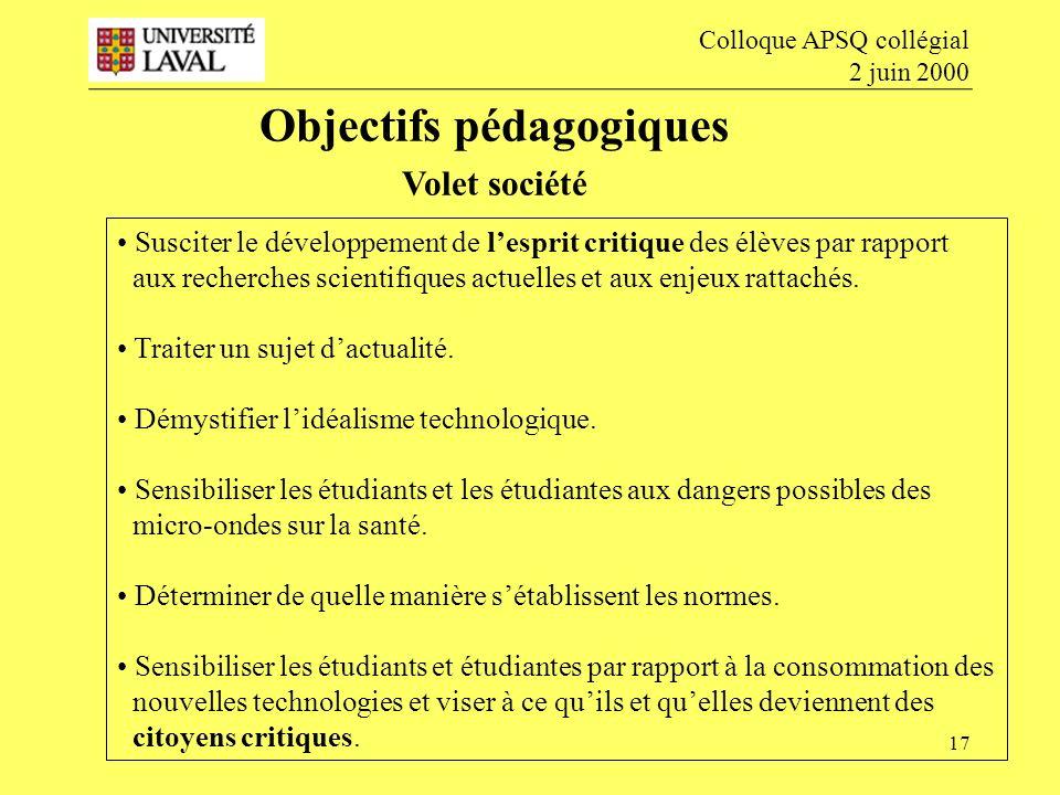 17 Objectifs pédagogiques Volet société Colloque APSQ collégial 2 juin 2000 Susciter le développement de lesprit critique des élèves par rapport aux recherches scientifiques actuelles et aux enjeux rattachés.