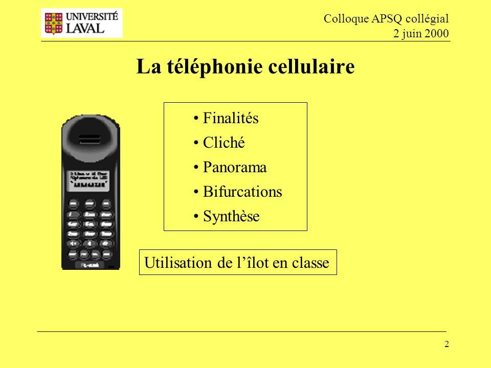 2 La téléphonie cellulaire Colloque APSQ collégial 2 juin 2000 Finalités Cliché Panorama Bifurcations Synthèse Utilisation de lîlot en classe