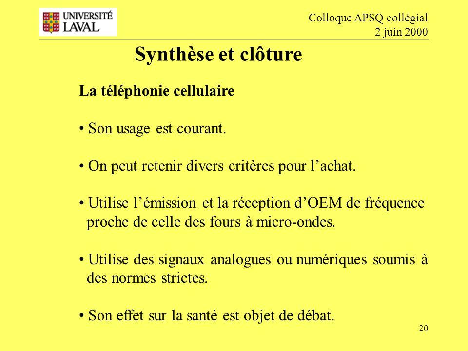 20 Synthèse et clôture Colloque APSQ collégial 2 juin 2000 La téléphonie cellulaire Son usage est courant.