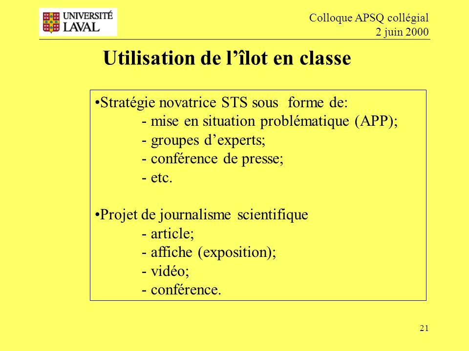 21 Utilisation de lîlot en classe Colloque APSQ collégial 2 juin 2000 Stratégie novatrice STS sous forme de: - mise en situation problématique (APP); - groupes dexperts; - conférence de presse; - etc.