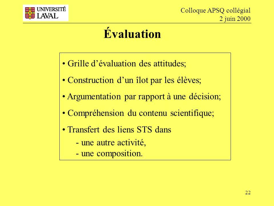 22 Évaluation Colloque APSQ collégial 2 juin 2000 Grille dévaluation des attitudes; Construction dun îlot par les élèves; Argumentation par rapport à une décision; Compréhension du contenu scientifique; Transfert des liens STS dans - une autre activité, - une composition.