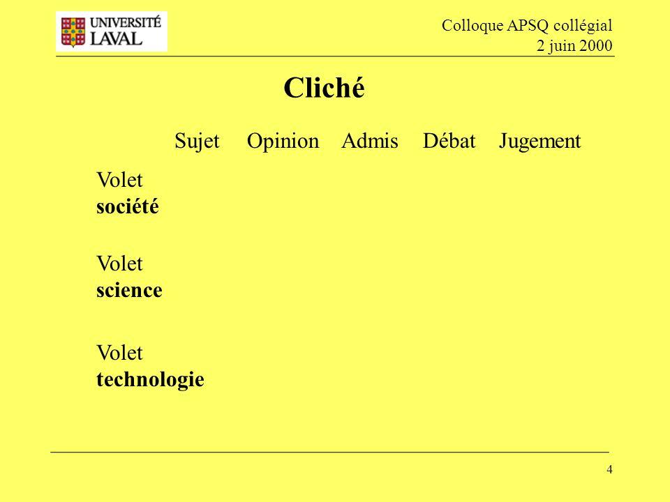 4 Cliché Colloque APSQ collégial 2 juin 2000 Volet société Volet science Volet technologie Sujet Opinion Admis Débat Jugement