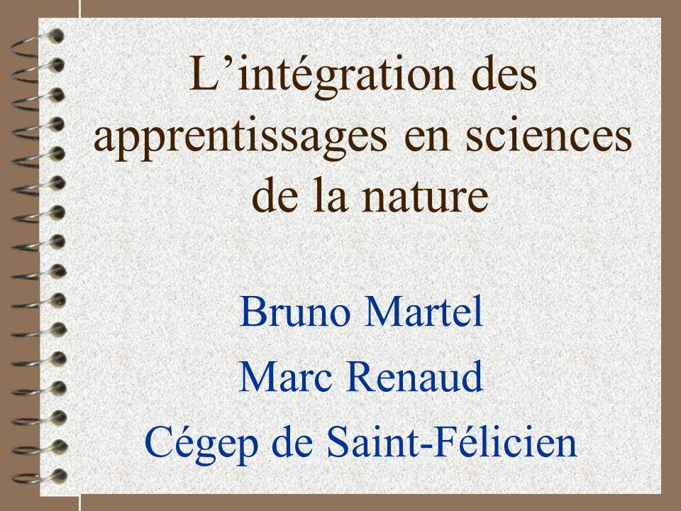 Lintégration des apprentissages en sciences de la nature Bruno Martel Marc Renaud Cégep de Saint-Félicien