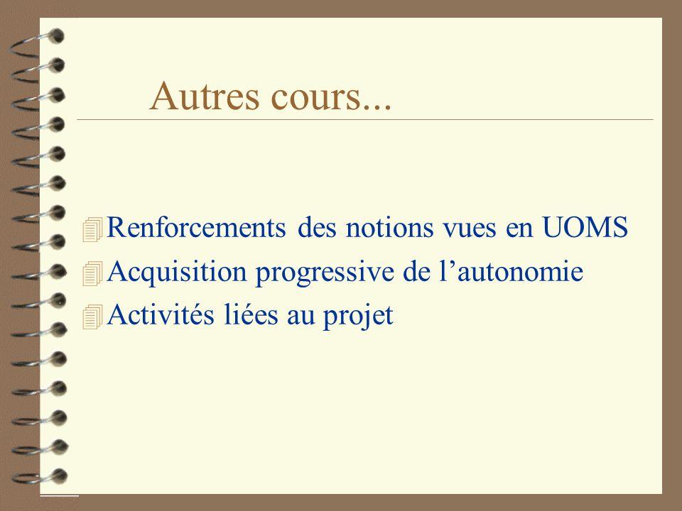 Autres cours... 4 Renforcements des notions vues en UOMS 4 Acquisition progressive de lautonomie 4 Activités liées au projet