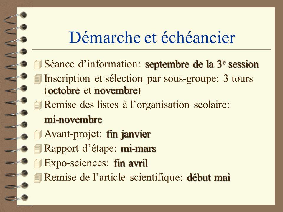Démarche et échéancier septembre de la 3 e session 4 Séance dinformation: septembre de la 3 e session octobre novembre 4 Inscription et sélection par