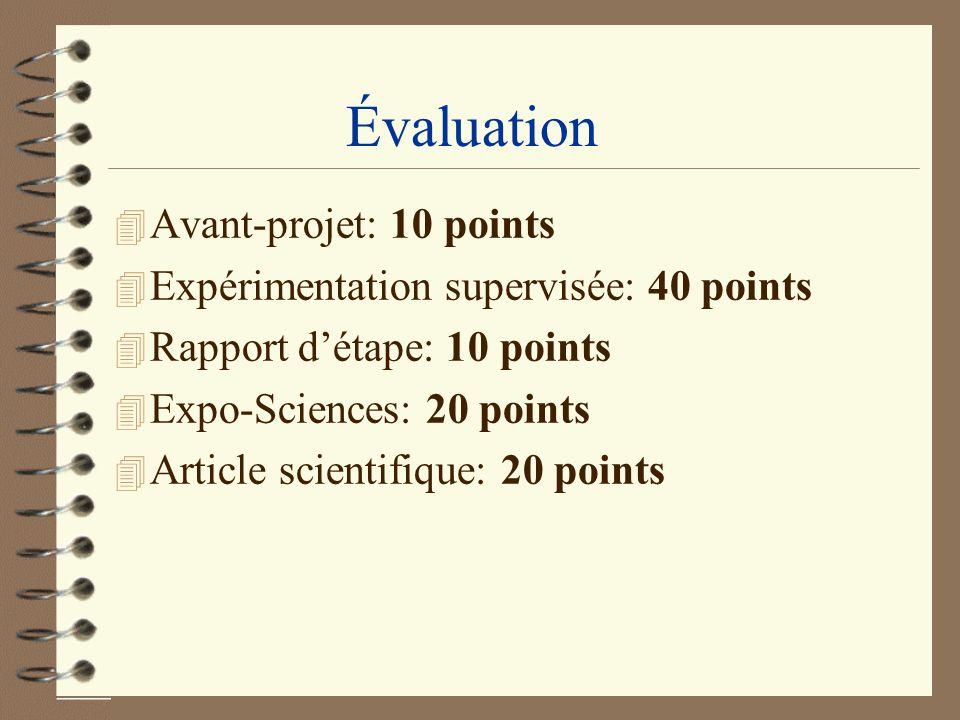 Évaluation 4 Avant-projet: 10 points 4 Expérimentation supervisée: 40 points 4 Rapport détape: 10 points 4 Expo-Sciences: 20 points 4 Article scientif