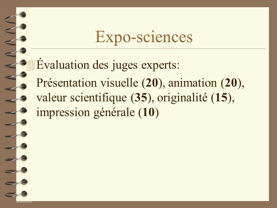 Expo-sciences 4 Évaluation des juges experts: Présentation visuelle (20), animation (20), valeur scientifique (35), originalité (15), impression génér