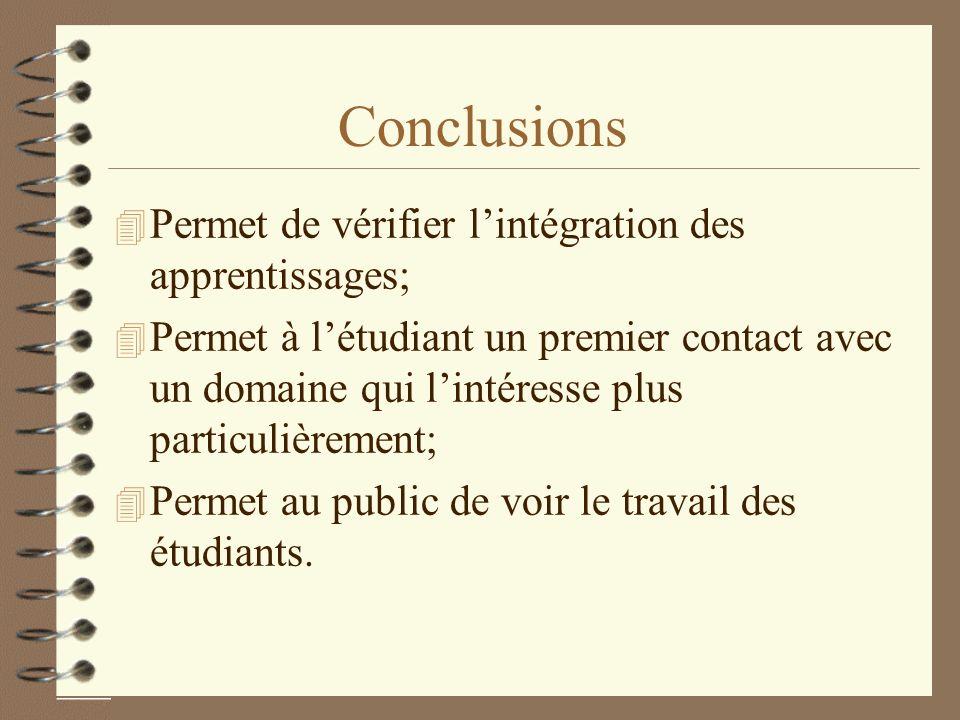 Conclusions 4 Permet de vérifier lintégration des apprentissages; 4 Permet à létudiant un premier contact avec un domaine qui lintéresse plus particul