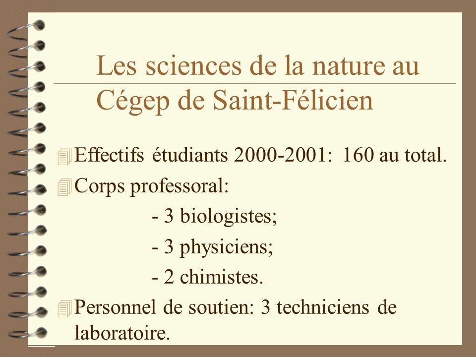 Les sciences de la nature au Cégep de Saint-Félicien 4 Effectifs étudiants 2000-2001:160 au total. 4 Corps professoral: - 3 biologistes; - 3 physicien