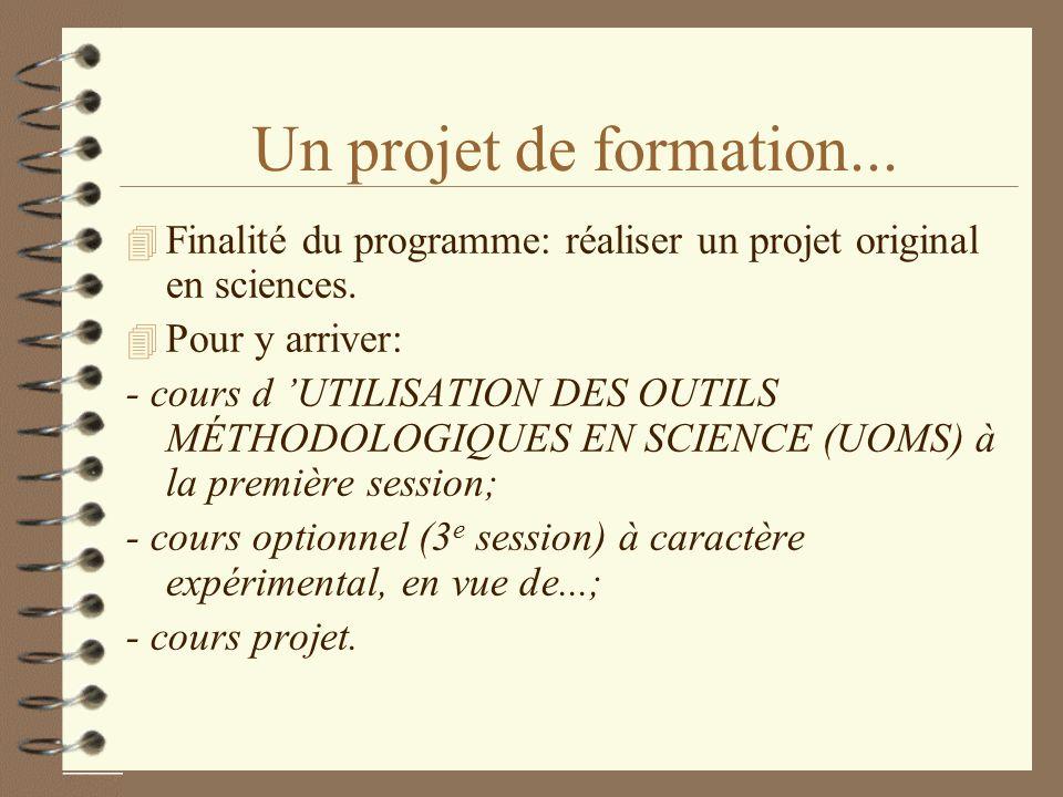 Un projet de formation... 4 Finalité du programme: réaliser un projet original en sciences. 4 Pour y arriver: - cours d UTILISATION DES OUTILS MÉTHODO