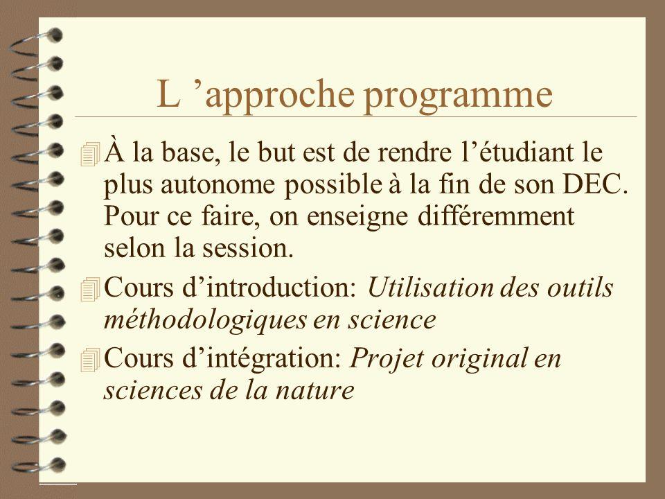 L approche programme 4 À la base, le but est de rendre létudiant le plus autonome possible à la fin de son DEC. Pour ce faire, on enseigne différemmen