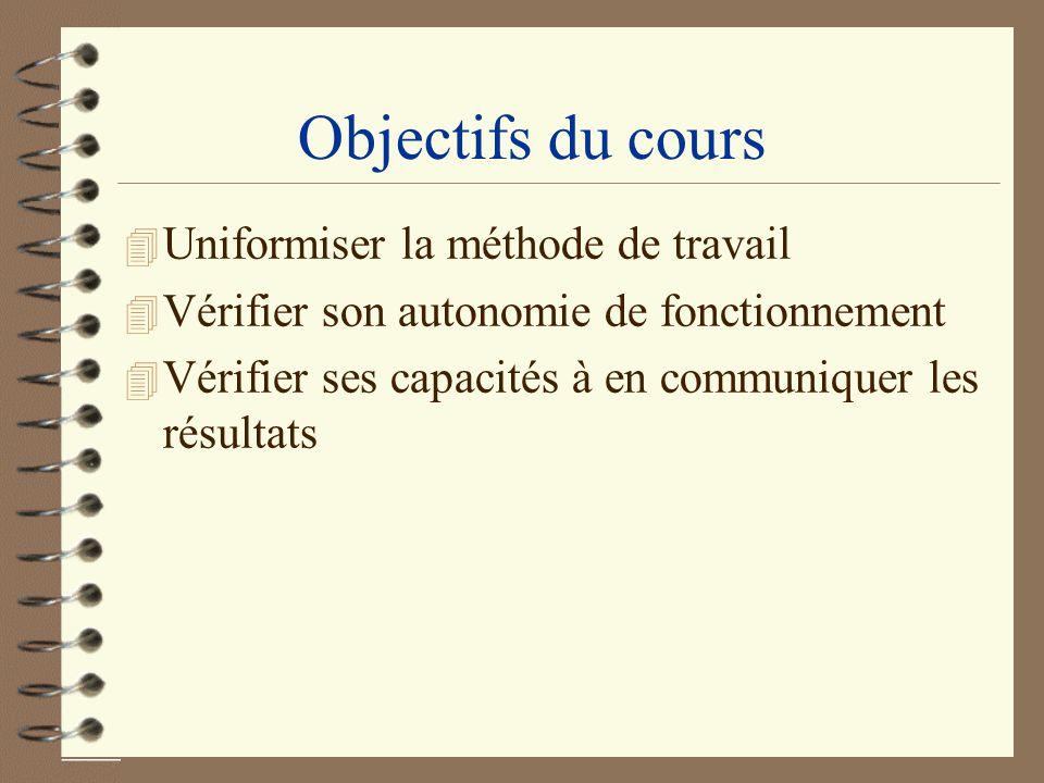 Objectifs du cours 4 Uniformiser la méthode de travail 4 Vérifier son autonomie de fonctionnement 4 Vérifier ses capacités à en communiquer les résult