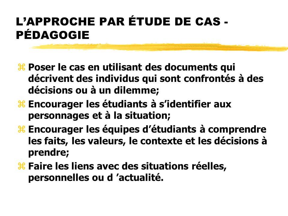 LAPPROCHE PAR ÉTUDE DE CAS - PÉDAGOGIE zPoser le cas en utilisant des documents qui décrivent des individus qui sont confrontés à des décisions ou à u