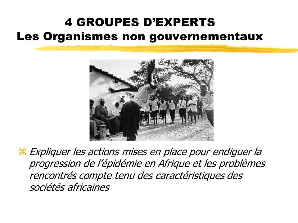 4 GROUPES DEXPERTS Les Organismes non gouvernementaux zExpliquer les actions mises en place pour endiguer la progression de lépidémie en Afrique et les problèmes rencontrés compte tenu des caractéristiques des sociétés africaines