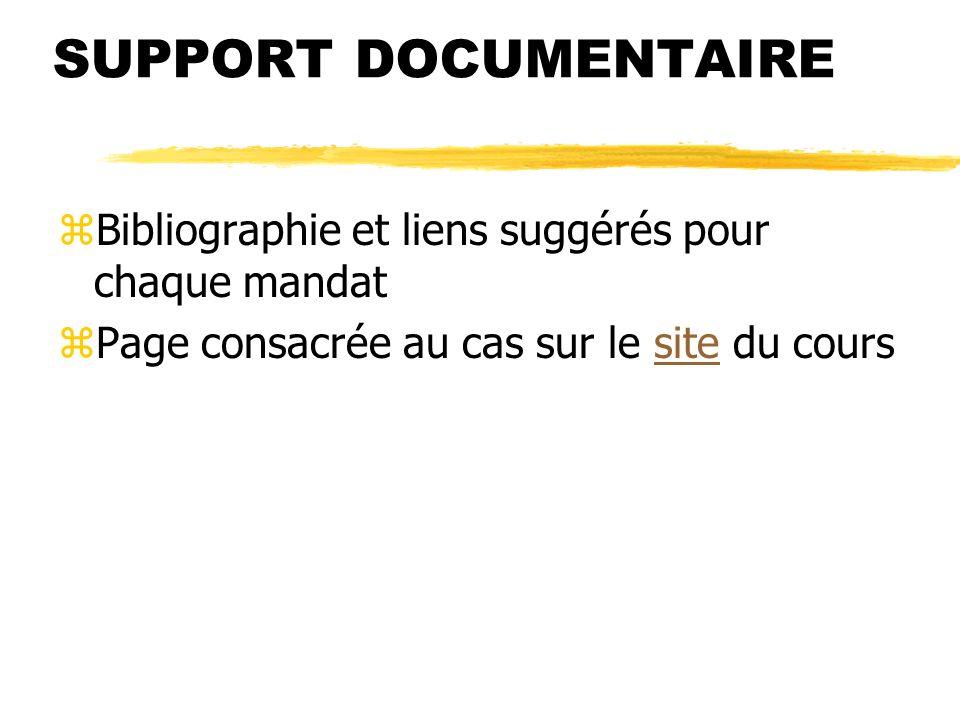SUPPORT DOCUMENTAIRE zBibliographie et liens suggérés pour chaque mandat zPage consacrée au cas sur le site du courssite
