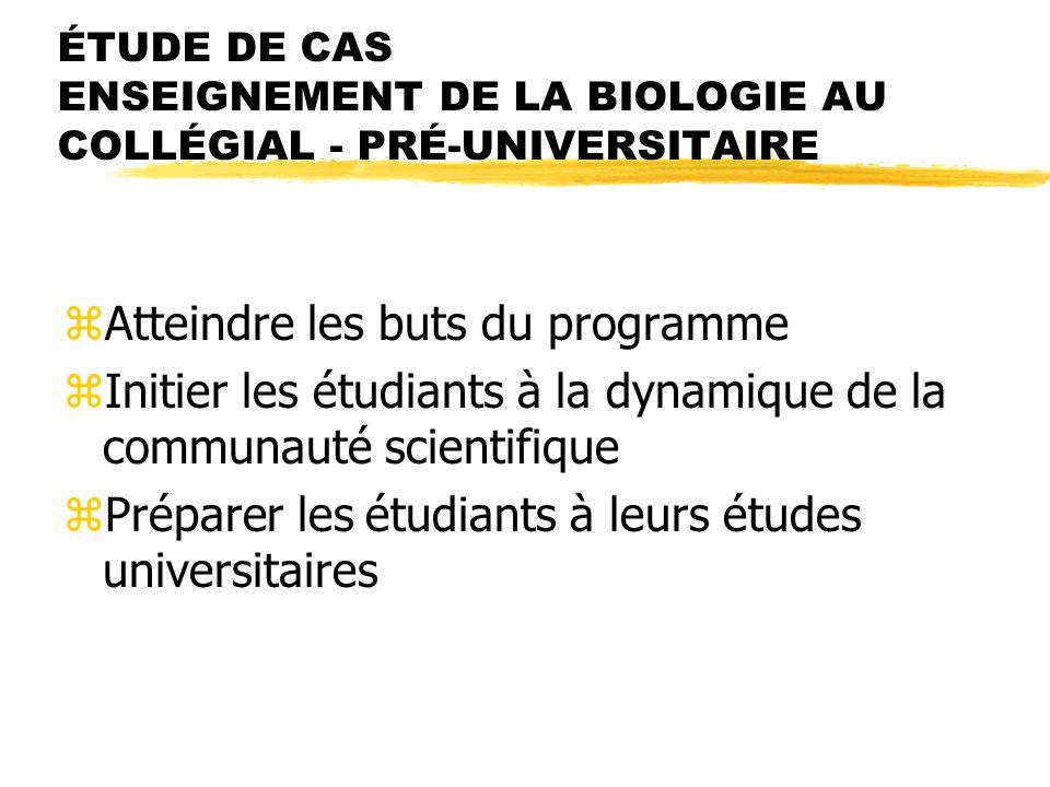 ÉTUDE DE CAS ENSEIGNEMENT DE LA BIOLOGIE AU COLLÉGIAL - PRÉ-UNIVERSITAIRE zAtteindre les buts du programme zInitier les étudiants à la dynamique de la communauté scientifique zPréparer les étudiants à leurs études universitaires