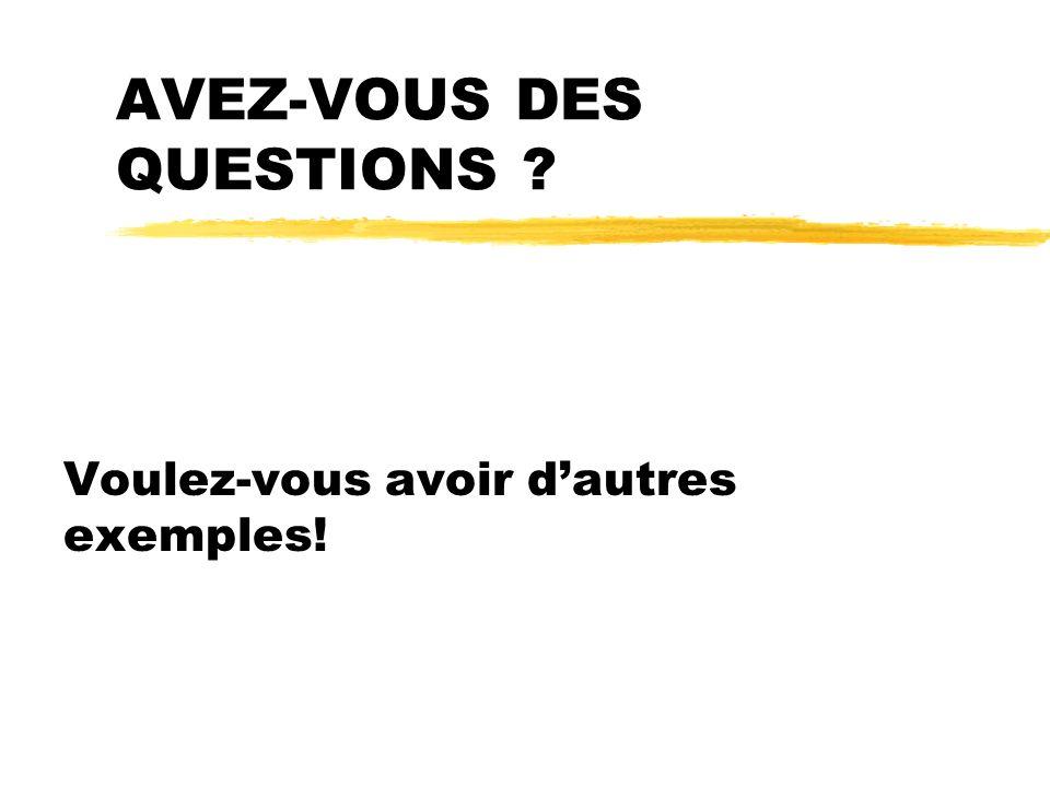 AVEZ-VOUS DES QUESTIONS ? Voulez-vous avoir dautres exemples!