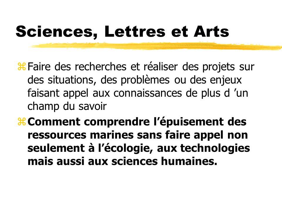 Sciences, Lettres et Arts zFaire des recherches et réaliser des projets sur des situations, des problèmes ou des enjeux faisant appel aux connaissance