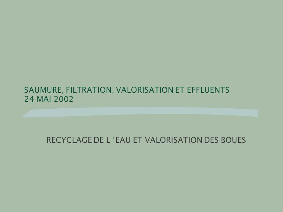 SAUMURE, FILTRATION, VALORISATION ET EFFLUENTS 24 MAI 2002 RECYCLAGE DE L EAU ET VALORISATION DES BOUES