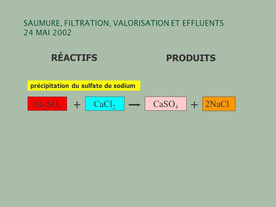 SAUMURE, FILTRATION, VALORISATION ET EFFLUENTS 24 MAI 2002 Na 2 SO 4 CaCl 2 CaSO 4 2NaCl RÉACTIFSPRODUITS précipitation du sulfate de sodium