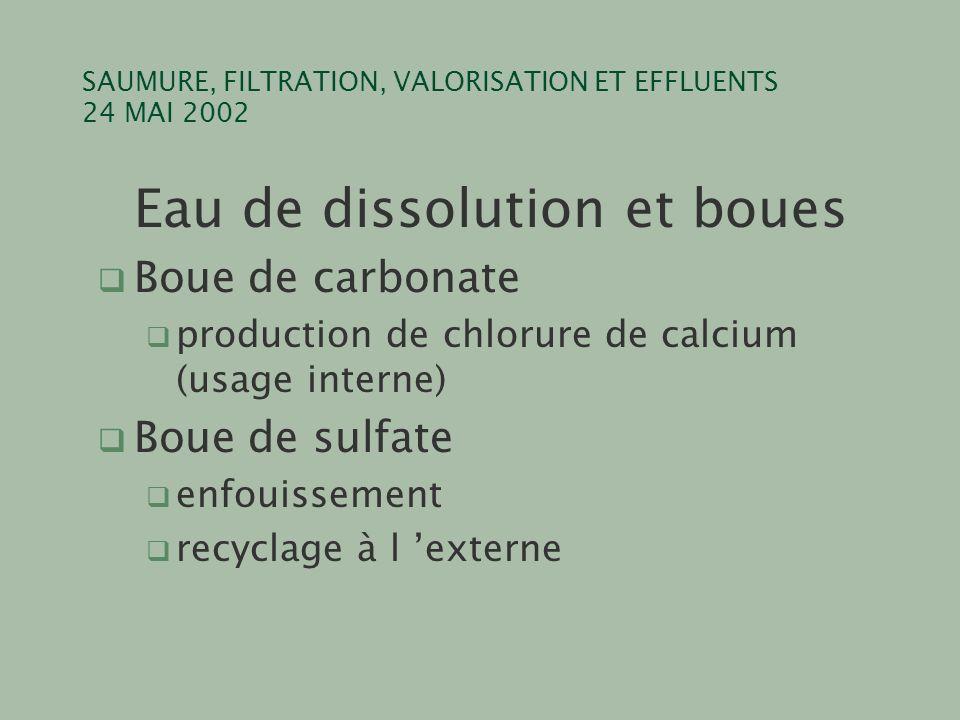 SAUMURE, FILTRATION, VALORISATION ET EFFLUENTS 24 MAI 2002 Eau de dissolution et boues q Boue de carbonate q production de chlorure de calcium (usage