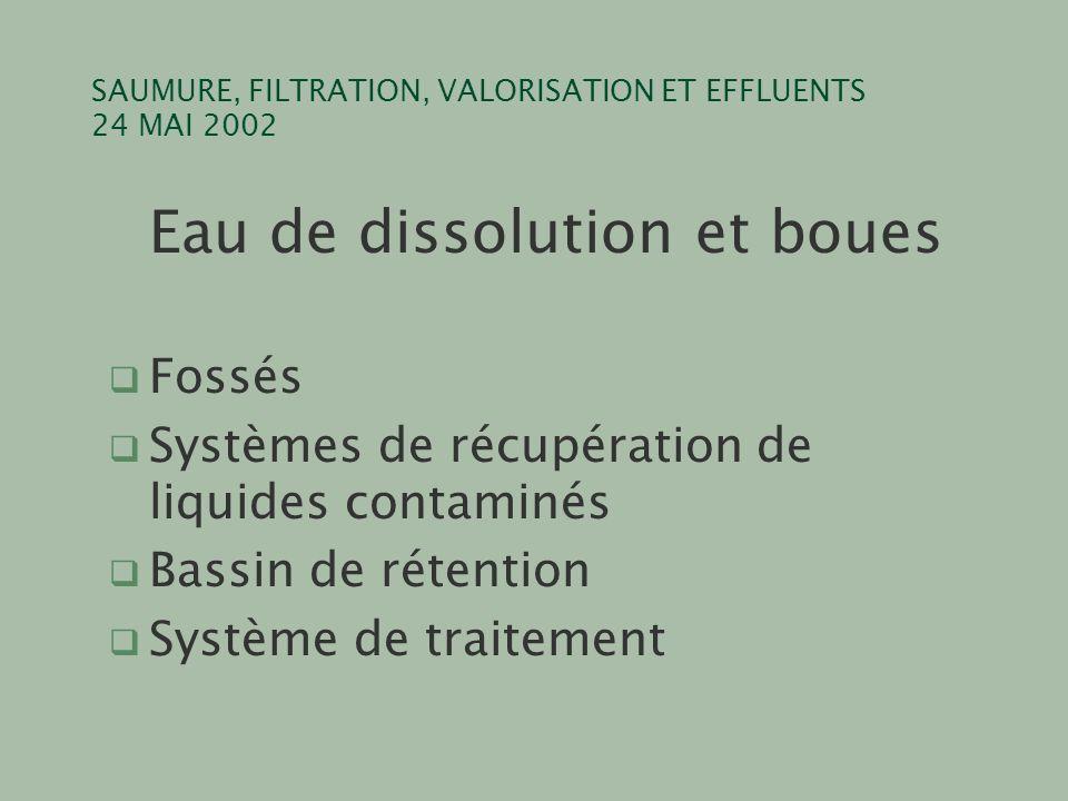 SAUMURE, FILTRATION, VALORISATION ET EFFLUENTS 24 MAI 2002 Eau de dissolution et boues q Fossés q Systèmes de récupération de liquides contaminés q Ba